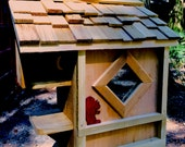 Squirrel house.  SHINGLED roof- handmade by my grandson and me with FREE SHIPPING