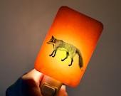 Fox Nightlight on Tangerine Orange Fused Glass Nightlight - Gift for Baby Shower or Nature Lover - Spring Wildlife decor