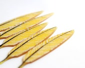 Glass Feather Sculpture in Marigold Yellow Glass with white barbs beautiful small tiny tangible art