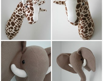 Elephant and Giraffe Plush Taxidermy -  PDF Sewing Pattern with Step-by-Step Photos and Easy Instructions