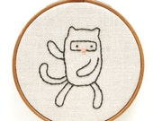 Ninja Cat in 5 Poses - Hand Embroidery Pattern PDF