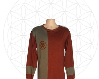 Hemp Shirts - Mens Hemp and Organic Cotton Shirt - Sacred Geometry Print - Custom made to order
