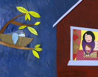 """Original art spread from """"i carry your heart"""" children's book ~ illustrated e.e. cummings poem ~ mother child reading window storm safe nest"""