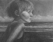Beach Art Girl Dreaming L...