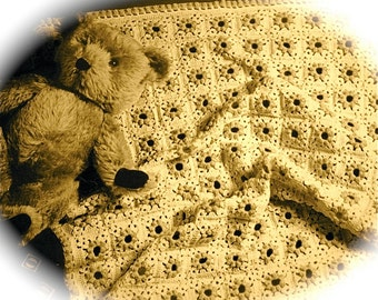 Vintage Crochet Blanket in 2 sizes Baby Gift Layette British Crochet Pattern PDF granny squares