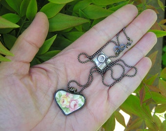 vintage rose broken china heart pendant and gunmetal chain necklace. garden rose. pink, yellow, and green colors. shabby chic style.