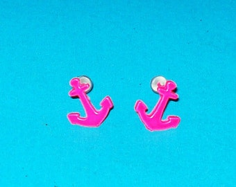 Neon Anchor Stud Earrings - Pink