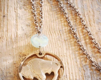 1920's vintage cut-out buffalo nickel necklace with seafoam green czech glass on oxidized sterling silver. ooak by val b.