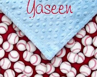 Baby Boy Blanket, Custom Baseball Baby Blanket - Personalized Baby Boy Blanket