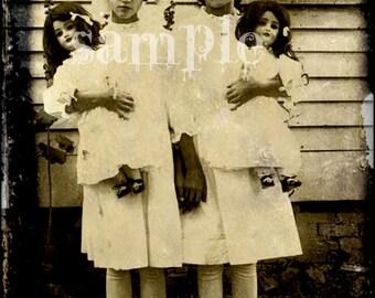 no30 VINTAGE photo Little Girls & antique Dolls DIGITAL DOWNLOAD collage sheet