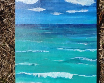 Seascape beach painting Ocean art, 11 x 14 original acrylic painting, beach painting, home decor, beach canvas art, sea painting
