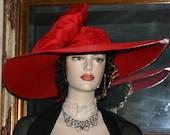 """Kentucky Derby Hat Ascot Hat Wedding Hat Church Hat """"Titanic"""" Wide Brim Tea Hat"""