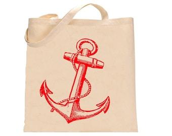 Anchor Tote Bag Nautical Print bags farmers market totes Anchors Indie eco friendly gifts beach prints cute screen print Sailor Bags