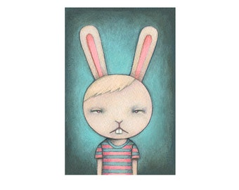 I Can Feel it in My Nose, bunny archival print of original illustration by Anna Tillett Designs