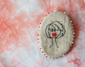 Cameo Number 4 - Layered Bob - Embroidered  Brooch