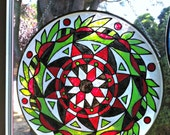 16 inch Faux Stained Glass Mandala Suncatcher in Green Red and White - Hand Painted Bohemian Decor - Recycled Drum Head -