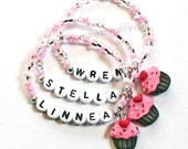 Pinkalicious inspired Cupcake Party Favor Charm Bracelet Cupcake Name Bracelet for Baby Toddler Child and Kids