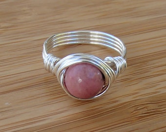 Rhodonite Ring. Pink Ring. Round Stone Ring. Pink Rhodonite. Custom Ring. Wire Wrapped Ring