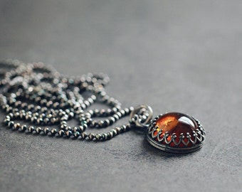 Golden orange AMBER oxidized sterling silver necklace, crown bezel setting