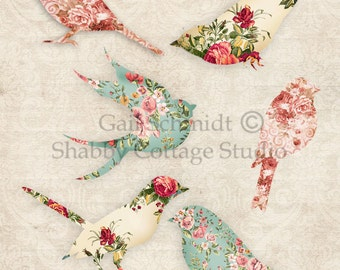 PRINTABLE DIGITAL Floral Birds 2 Tags Banners Scrapbooking Journals Embellishment Cards Paper Crafts