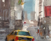Original Urban Cityscape Taxi Painting Sketch