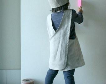 CHILDRENS LINEN APRON - cross back / linen smock / boy / girl / eco clothing / natural / linen pinafore / made in australia / pamelatang
