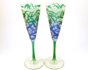 Chaos Weave - Trumpet Style Frosted Champagne Flutes - Etched and Painted Glassware - Custom Made to Order