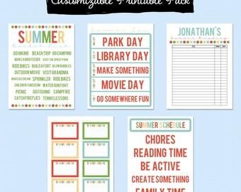 Summer Fun Printable Pack - Editable PDF