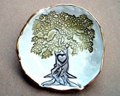 Ceramic  Tree Ring holder bowl edged in gold Organic Shape