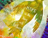 Hope is a thing with feathers by Emily Dickinson ... Illustrated poem ... art print ... you choose the size
