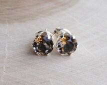 6mm smoky quartz studs. dark brown gem studs.smoky topaz gem. gold or silver studs.