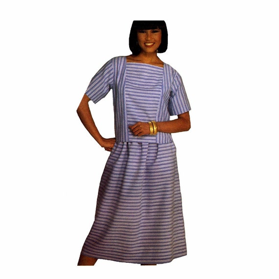 1980s Womens Princess Seam Dress Top Skirt Vintage Simplicity 6761 Sewing Pattern Square Neck Top Size 6 - 8 - 10 Bust 30 - 31 - 32 UNCUT