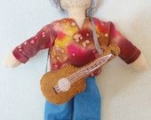 Hippie Guitar Guy Doll - OOAK Rock n Roll Doll - Handmade
