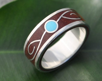 Vida Wood Ring - Turquoise and Carbon Wood - ecofriendly wedding band, turquoise wedding ring, wood and stone inlay wedding ring