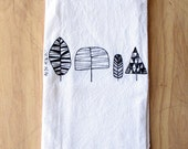 Trees Tea Towel - Silkscreened - 100% Cotton - Flour Sack Tea Towel