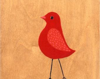 Red Ruby Bird art print - archival fine art print - Nursery decor