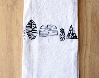 Trees Tea Towel - Silkscreened - 100% Cotton - Flour Sack Tea Towel