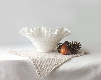Fenton Hobnail White Milk Glass Bowl, Ruffle Rim, Mid Century Art Glass, Wedding Table Decor