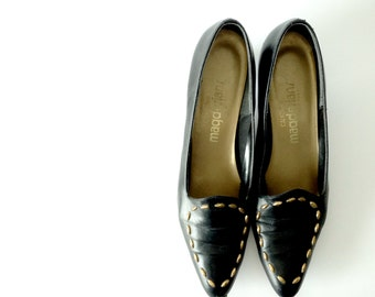 Vintage studded leather pumps / Made in USA / black leather with faceted brass stud detail / sculpted heels