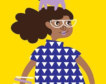 Willa Walkandroll, Children's Art Print, (Dog and African American Girl  Illustration)