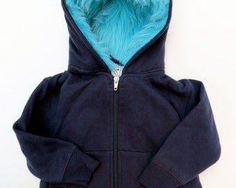 Toddler Monster Hoodie - Size 6T - Navy blue with aqua - horned sweatshirt, custom jacket
