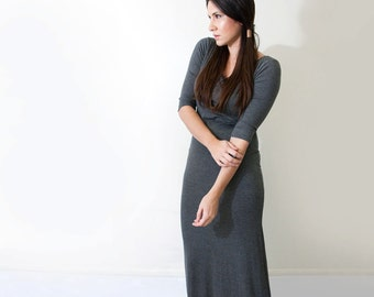 Maxi Dress • Quarter Sleeve • Jersey Women's Dresses • Tall & Petite Length • Relaxed Fit Dress • Made in our loft • L415 Clothing (No. 949)