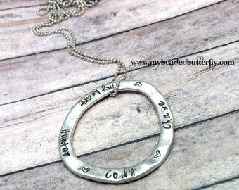 Large washer necklace -  personalized necklace -personalized washer necklace-circle necklace-mommy necklace-hand stamped necklace