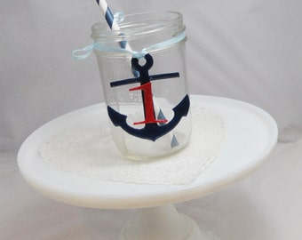 Personalized Anchor Drink Tag Favors- Nautical 1st Birthday- Set of 12