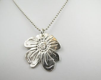 Fine Silver Wild Rose Charm Pendant Necklace- Christian Jewelry -ROSE of Sharon Collection