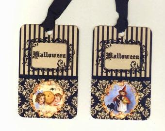 Halloween Tags Vintage Style Victorian Halloween Damask Children Witch Pumpkins