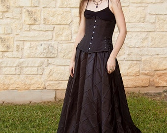 Black Pintuck Taffeta Renaissance Skirt - Steampunk Costume - Womens Adult Halloween Costume - Ren Faire Garb - Victorian Clothing