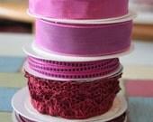 5 Piece Lot of Decorative Spool Ribbon - Deep Dark Pink & Maroon