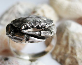 Cancer birthday CRAB shell sterling silver ring sz Made To Order