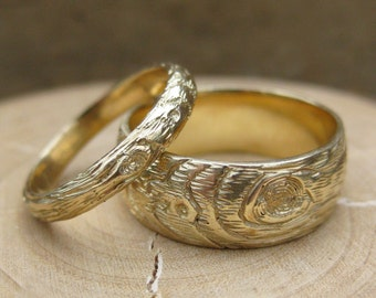 woodgrain wedding band set GOLD wood grain ring PLYWOOD 14 kt yellow faux bois, made to order